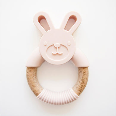 Bunny Silicone and Wood Teether Ring - Pink