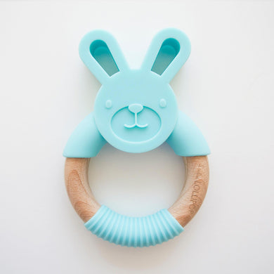 Bunny Silicone and Wood Teether Ring - Aqua