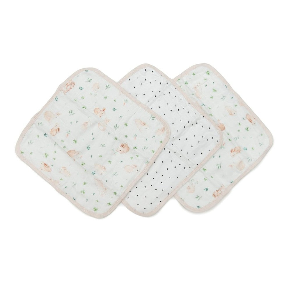 Muslin Washcloth Set (set of 3) - Bunny Meadow