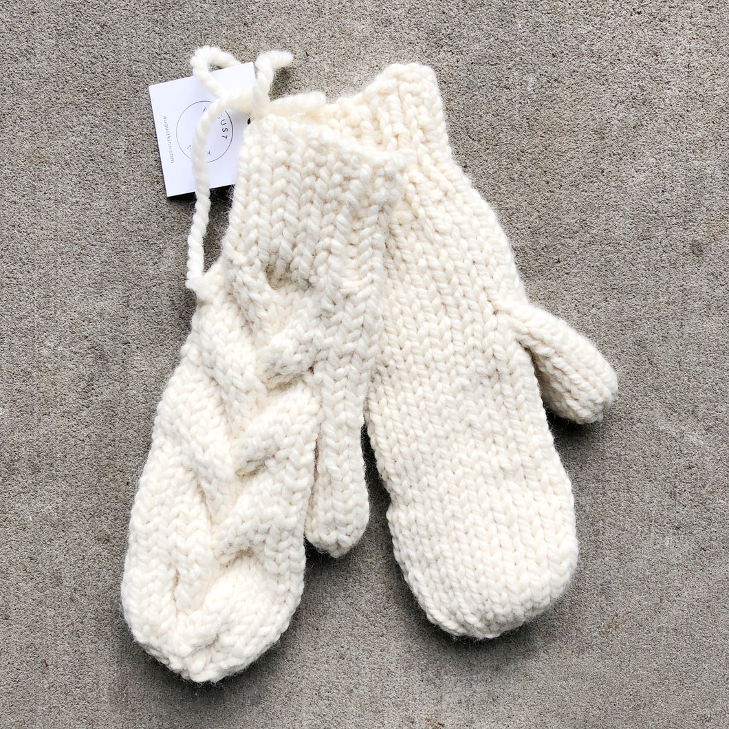 Chunky Knit Mittens - Cream