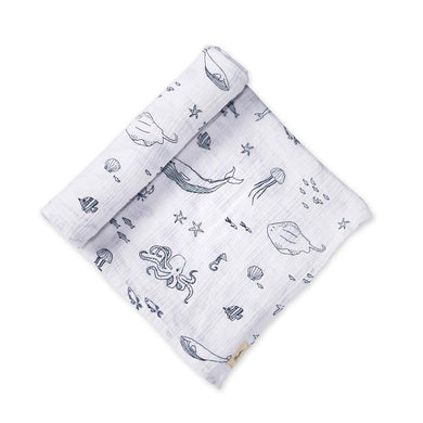 Swaddle Blanket - Marine Blue Aquatic Life