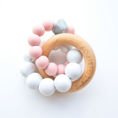 Trinity Wood & Silicone Teether - Tea Rose
