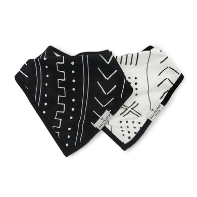 Bandana Bib Set - Black White Mudcloth