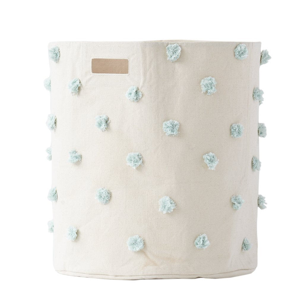 Canvas Hamper - Mist Pom Pom