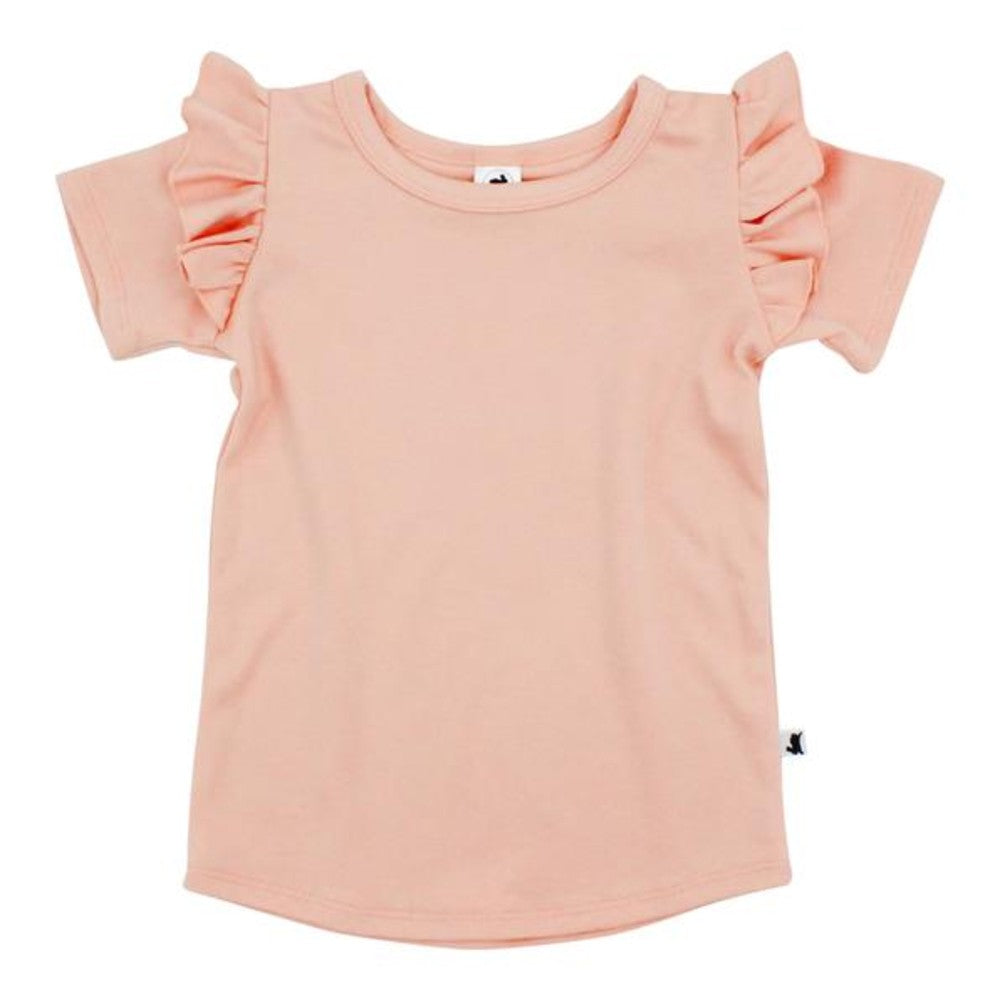 Ruffle Sleeve T-Shirt - Peach