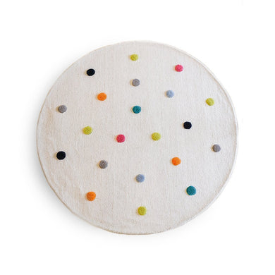 Wool Multi Colour Pom Pom Rug