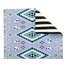Reversible Play Mat - Blue Moroccan Rug + Stripe