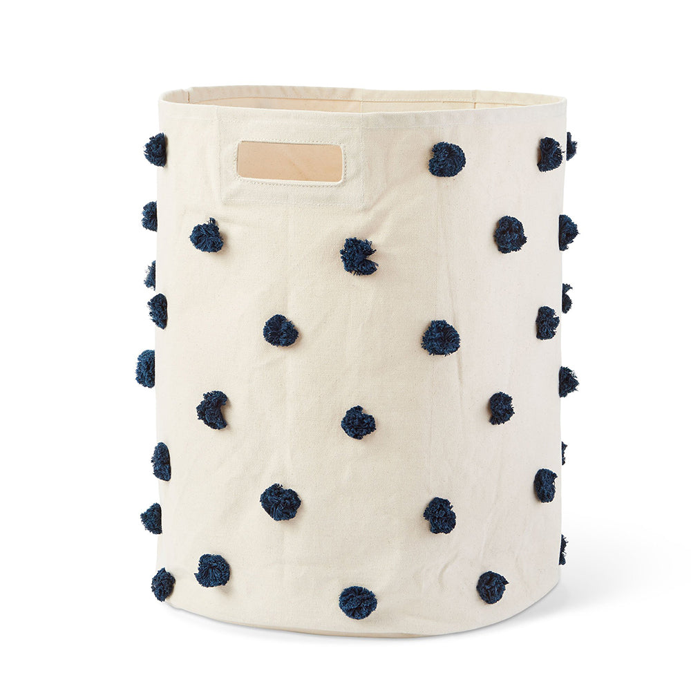 Canvas Hamper - Navy Pom Pom