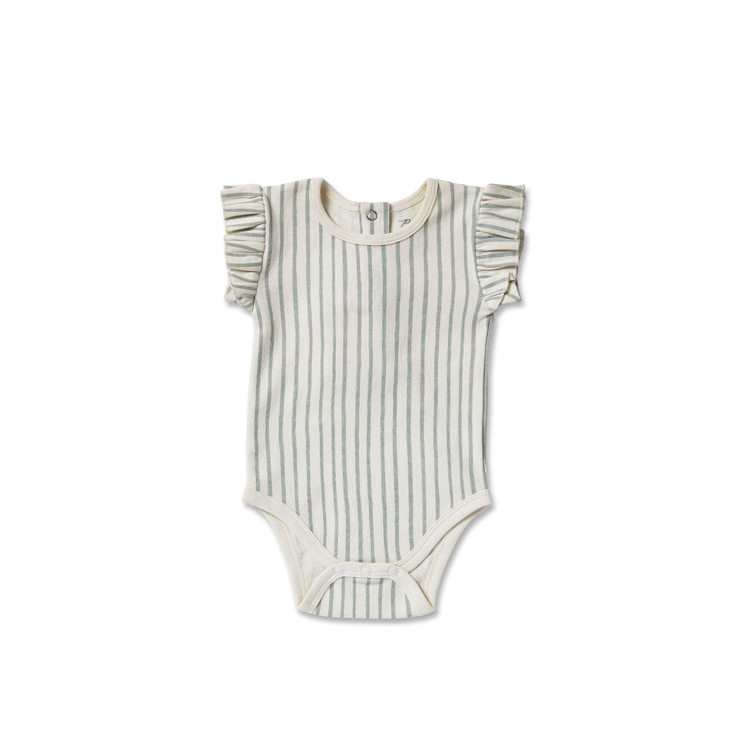 Stripes Away Short Sleeve Ruffle One Piece - Sea