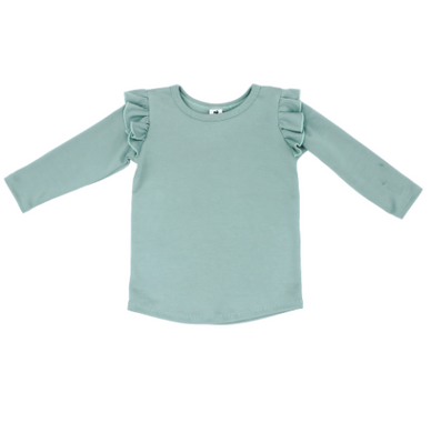 Long Sleeve Ruffle Top - Mist