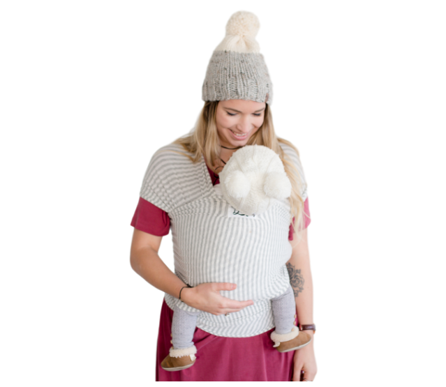 Bamboo Baby Wrap Carrier - The Shannon (Light Grey Stripe)