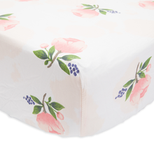 Cotton Percale Crib Sheet - Watercolour Rose