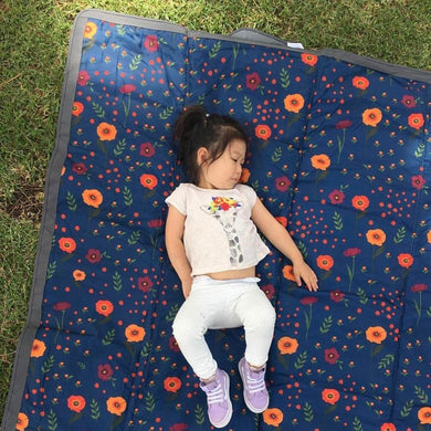Outdoor Blanket + Play Mat - Midnight Poppy