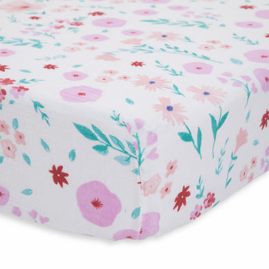 Cotton Percale Crib Sheet - Morning Glory