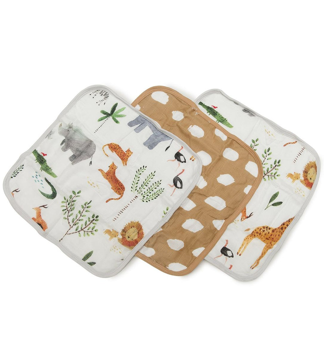 Muslin Washcloth Set (set of 3) - Safari