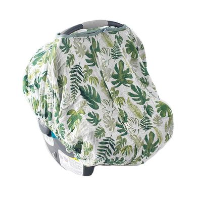 Cotton Muslin Carseat Cover - Tropical Leaf