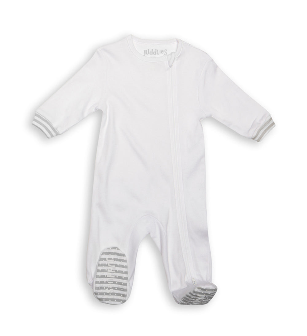 Zipped Sleeper - White + Grey