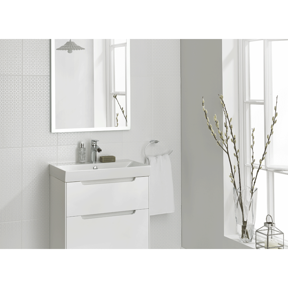 Laura Ashley Bathroom Wall Tile The White Collection Marise 248mm X 498mm   La51911
