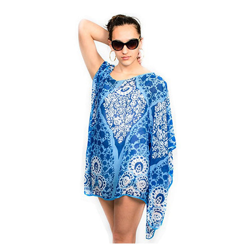 Womens Floral Summer Poncho Coverup