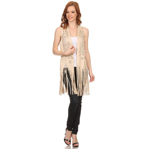 Womens Boho Faux Suede Lightweight Poncho