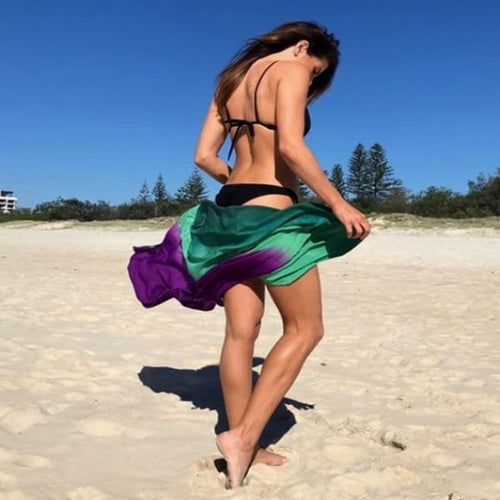 Beach Glam Green and Purple Ombre Beach Scarf