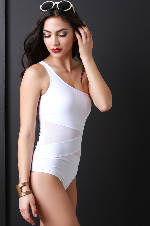 One Shoulder Mesh Panel Swimsuit