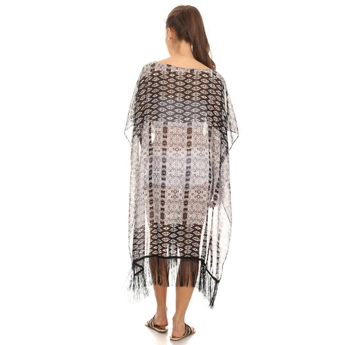 Womens Black and White Midi Poncho with Fringe