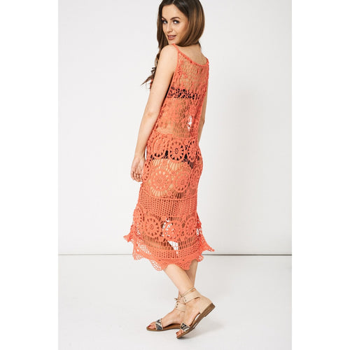 Coral Crochet Lace Detail Beach Cover Up Dress