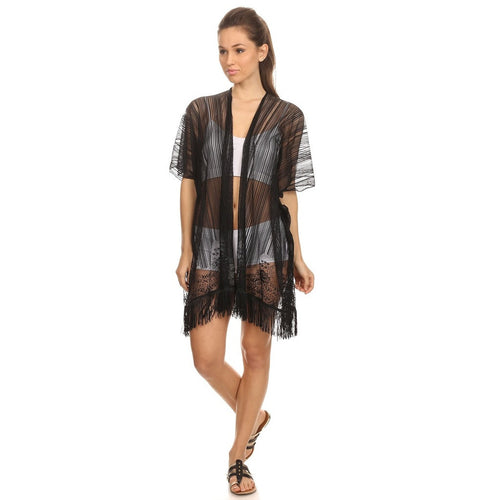 Womens Open Front Lace Kimono Style Poncho with Fringe