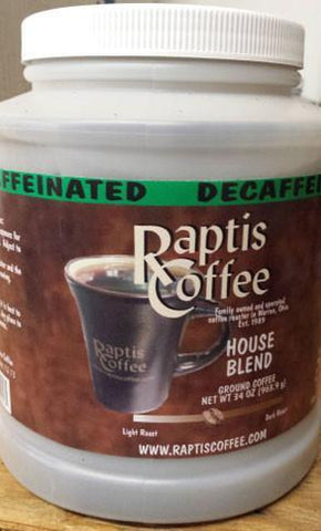 34 oz Decaffeinated House Blend Can-Raptis Coffee