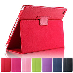"iPad 2/3/4 Case - 9.7"" Matte Flip Litchi Leather iPad Cover"