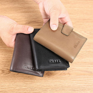 RFID Luxury Men Leather Short Wallet
