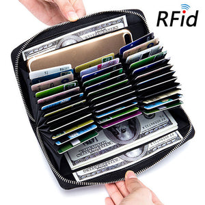 Large Capacity RFID Credit Card Leather Wallet