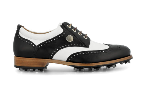 Men's Spiked Golf Shoe | Cleated White & Black | Royal Albartross The Squire