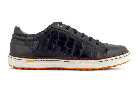 Men's Spikeless Golf Shoe | Faux Black Croc Leather | Royal Albartross Club Croco Black