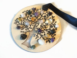 Laser Cut Wood Tree of Life Ornament With Genuine Crystals