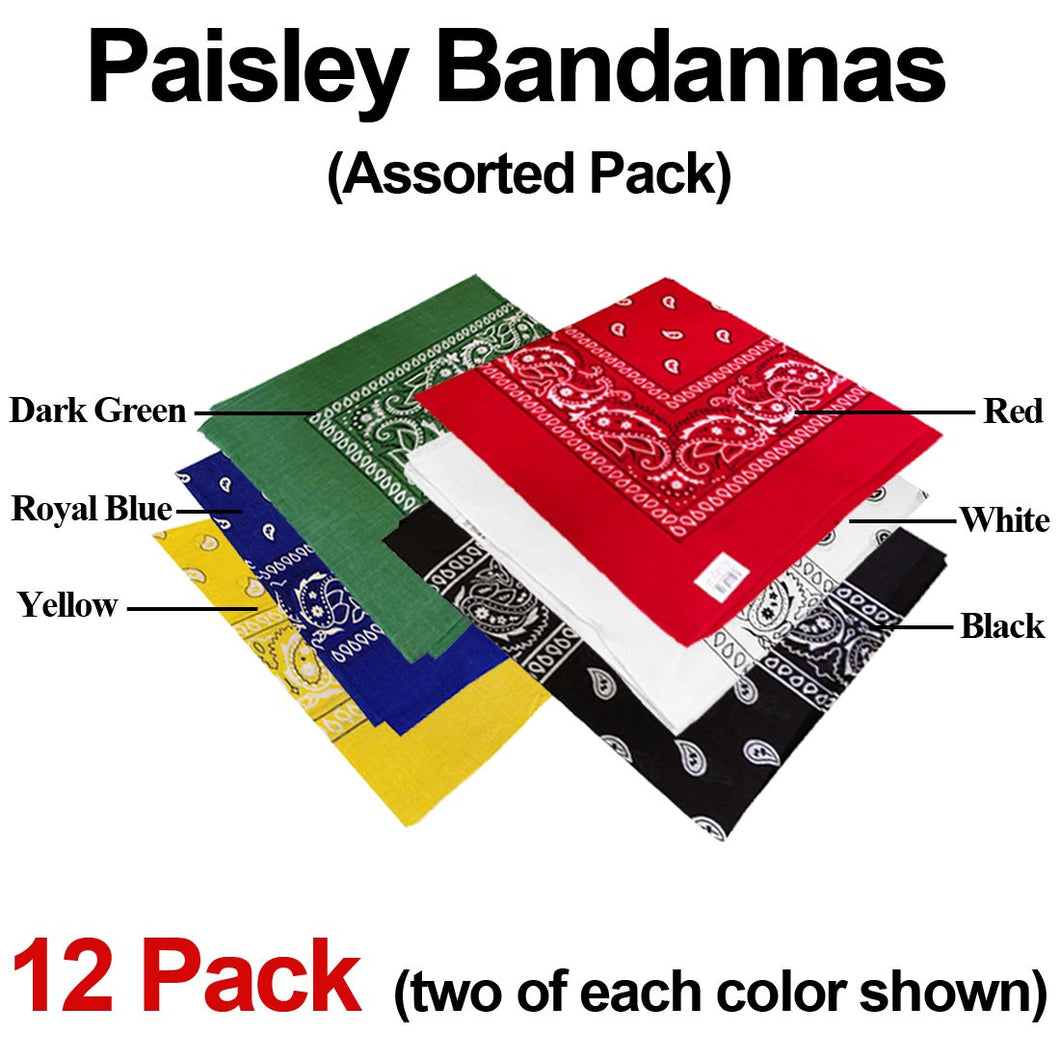 Bandana Paisley - Assorted 12 Pack (Six Popular Colors)