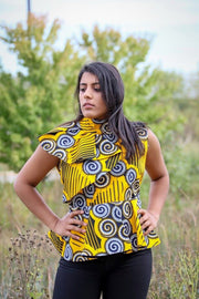 Ikeja Top -High Neck Top in Yellow & Silver