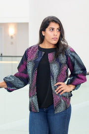 Lekki Jacket -Our classic Stoned  Front Jacket in Purple