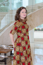 Ibadan Dress - Shirt Dress in Red & Gold