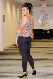 Asaba Top- Crew neck peplum top with one sided ruffle detail