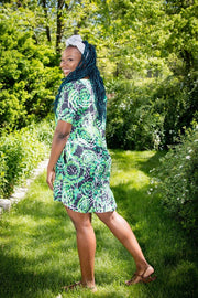 Sokoto Dress - Green Pattern