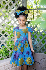 Aja Girl Dress- Blue and yellow star