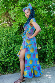 Fadeyi Maxi Dress - Blue and yellow star pattern