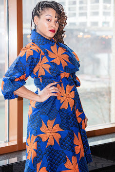 Lagos Coat/ Dress- Blue Orange