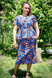 Iju Pencil Skirt-Orange and blue