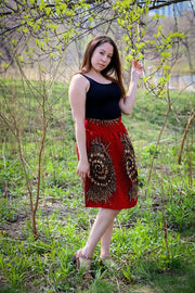 Asaba Gathered Skirt-Red and gold