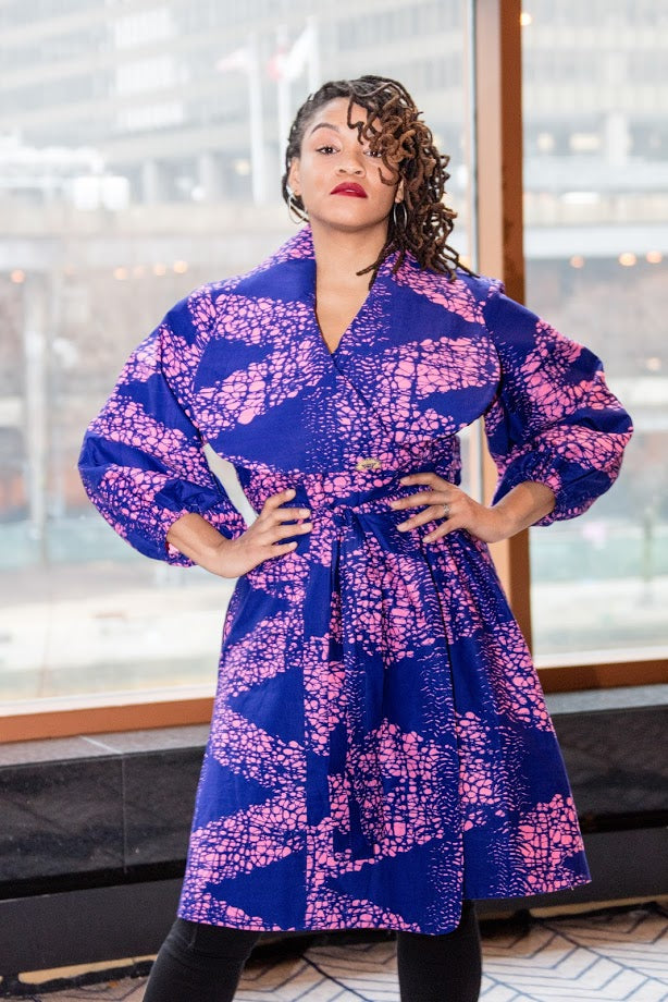 Lagos Coat/ Dress- Purple with head tie