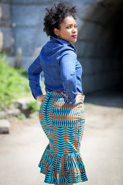 Idumota Pencil Skirt-Orange Turquoise