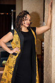 Ikorodu Vest Jacket - Yellow Gold and Black